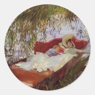 John Sargent- Two Women Asleep in a Punt Round Sticker
