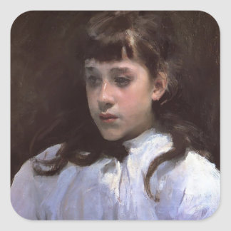 John Sargent-Young Girl WITH White Muslin Blouse Square Sticker