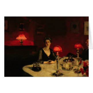 John Singer Sargent - A Dinner Table at Night Greeting Card