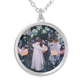 John Singer Sargent Carnation Lily Lily Rose Round Pendant Necklace