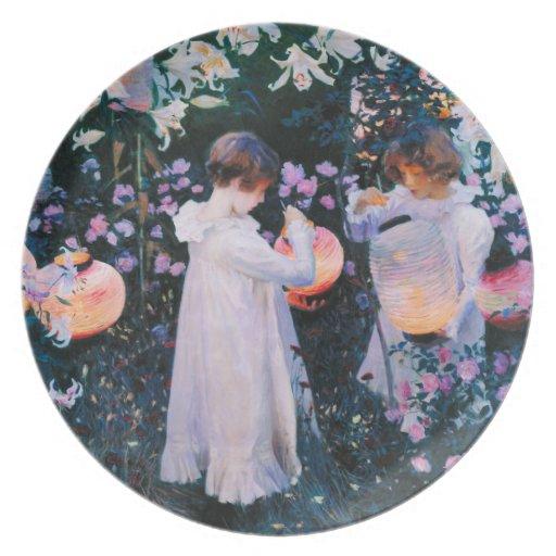 John Singer Sargent Carnation Lily Lily Rose Dinner Plates