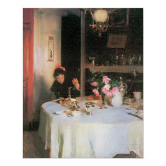 John Singer Sargent - The breakfast table Poster