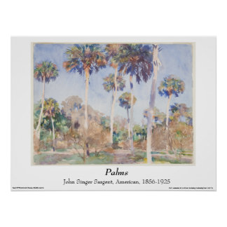 John Singer Sargent Watercolor - Palms Poster