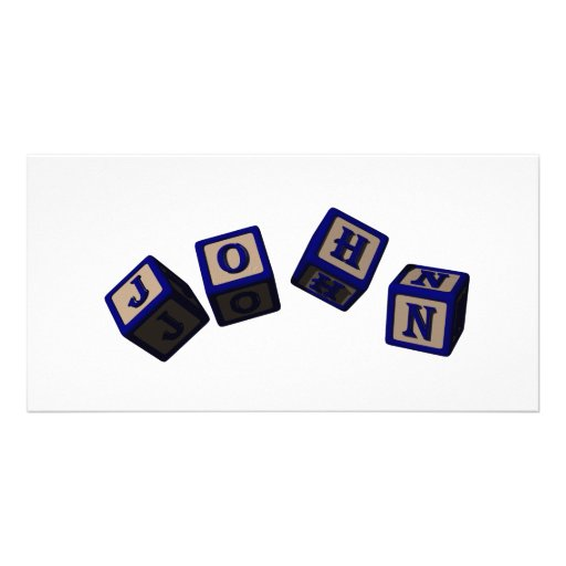 John toy blocks in blue photo card