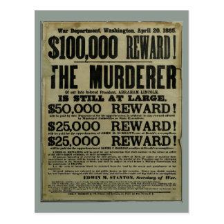 John Wilkes Booth Lincoln murder poster Postcard