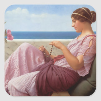 John William Godward- A Souvenir Square Sticker