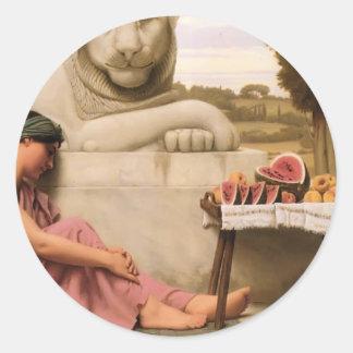 John William Godward- The Fruit Vendor Round Sticker