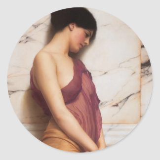 John William Godward- The Tambourine Girl Classic Round Sticker