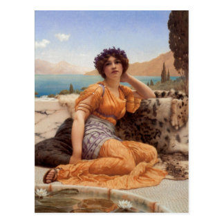 John William Godward With Violets Wreathed and Rob Postcard