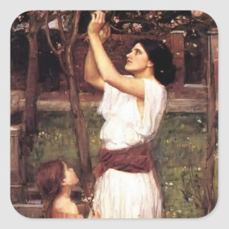 John William Waterhouse- Gathering Almond Blossoms Square Sticker