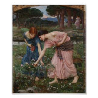 John William Waterhouse - Gathering Rosebuds Poster