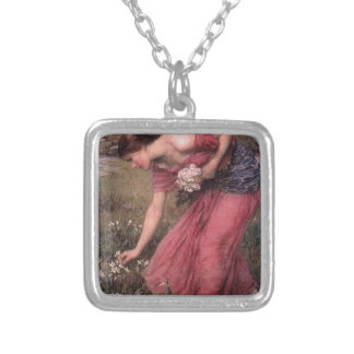 John William Waterhouse - Narcissus - Fine Art Silver Plated Necklace