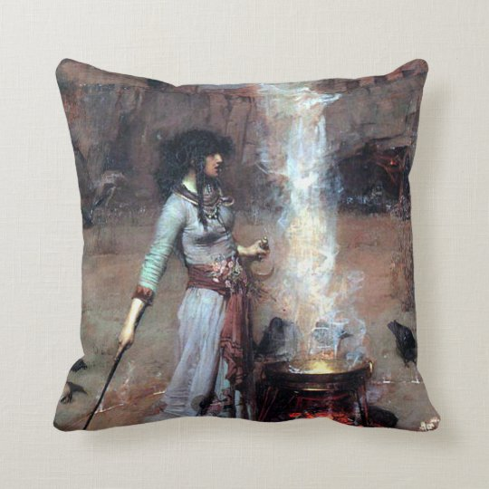 John William Waterhouse The Magic Circle Throw Pillow