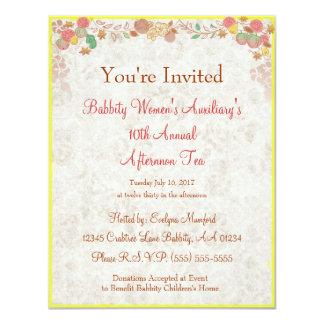 "Johnson Brothers China Charity Afternoon Tea  - 4.25"" X 5.5"" Invitation Card"