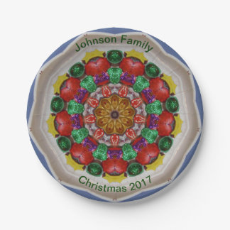 JOHNSON FAMILY ~ Personalized Christmas Fractal ~ Paper Plate