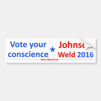 Johnson-Weld 2016 -- Vote your Conscience Bumper Sticker