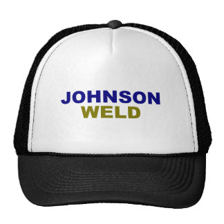 Johnson-Weld dark text Trucker Hat