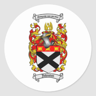 JOHNSTON FAMILY CREST -  JOHNSTON COAT OF ARMS CLASSIC ROUND STICKER