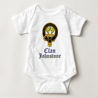 Johnstone scottish crest and tartan clan name baby bodysuit