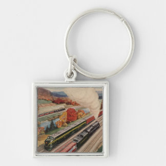 Johnstown, Pennsylvania (Commerce Trains) Silver-Colored Square Keychain