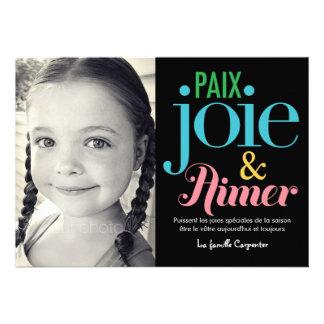 Joie et d amour de paix cartes de photo de vacance custom invite