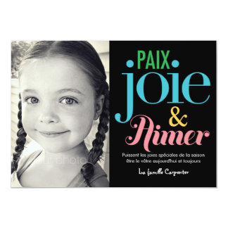 "Joie et d'amour de paix cartes de photo de vacance 5"" x 7"" invitation card"