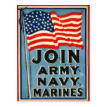 Join Army, Navy, Marines WPA 1917 Postcard