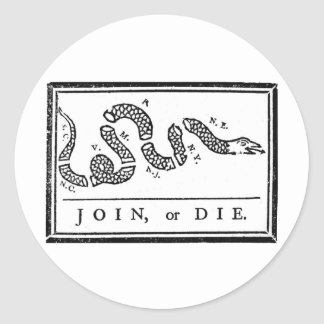 Join Or Die Classic Round Sticker