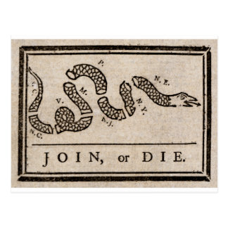 Join or Die Political Cartoon by Benjamin Franklin Postcard