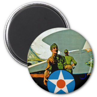 Join The Air Service ~ Give 'Er The Gun 2 Inch Round Magnet