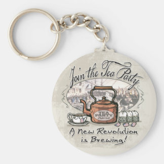 Join the Tea Party Tea Shirts and Gifts Basic Round Button Keychain