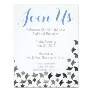 Join Us Rehearsal Dinner Invite | Blue White Grey