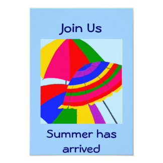 """JOIN US-SUMMER HAS ARRIVED INVITE 3.5"""" X 5"""" INVITATION CARD"""