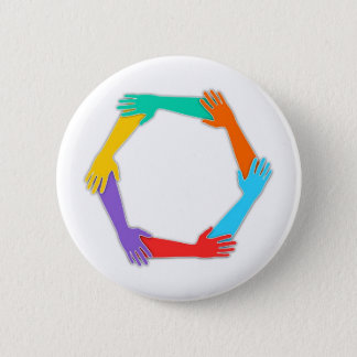 Joined Hands 2 Inch Round Button