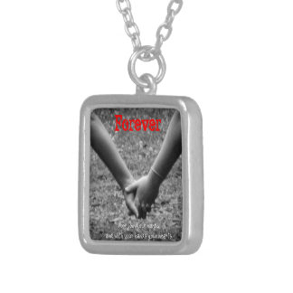 joined hands forever silver plated necklace