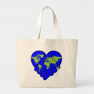 Joining hands large tote bag