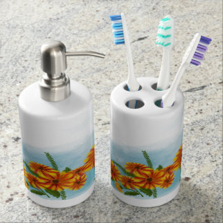 JOINT BATH - DAISIES SOAP DISPENSER AND TOOTHBRUSH HOLDER