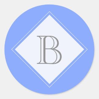 Joint bleu d'initiale de monogramme de diamant sticker rond