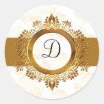 joint d'enveloppe de monogramme d'or adhésif rond