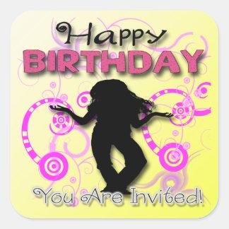 Joint d'enveloppe d'invitation de l'anniversaire sticker carré