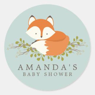 Joint doux de faveur de baby shower de Fox de Sticker Rond
