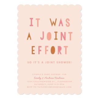 Joint Effort Couple's Baby Shower Invitation Blush