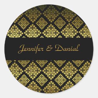 Joint élégant d'enveloppe de mariage de noir et adhésif rond