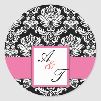 Joint rose de damassé de monogramme de mariage adhésifs ronds