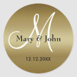 Joints de monogramme de mariage d'or autocollant rond