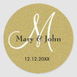 Joints de monogramme de mariage d'or de autocollant rond