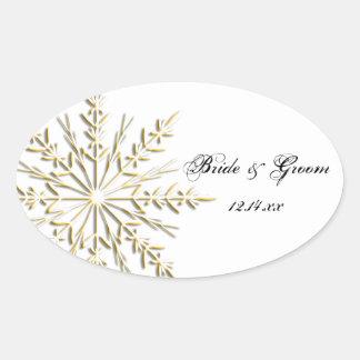 Joints d'enveloppe de mariage d'hiver de flocon de autocollants ovales