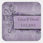 joints violets d'enveloppes de mariage vintage sticker carré