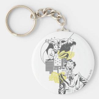 Joker and Batman Comic Collage Basic Round Button Keychain