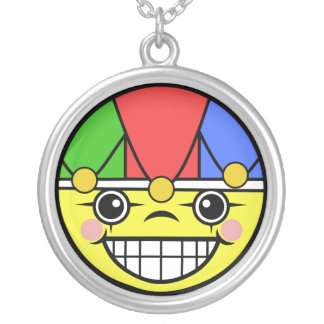 Joker Face Silver Plated Necklace